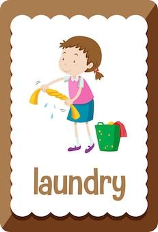 Woordenschat flashcard met woord wasserij Gratis Vector