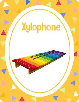Woordenschat flashcard met woord xylofoon