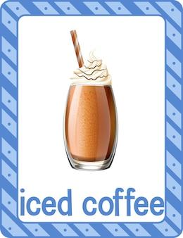 Woordenschatkaart met woord iced coffee