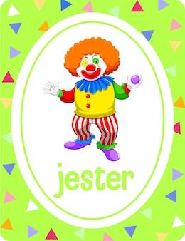 Woordenschatkaart met woord jester