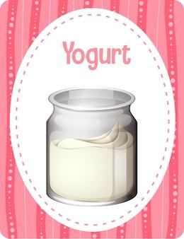 Woordenschatkaart met woord yoghurt