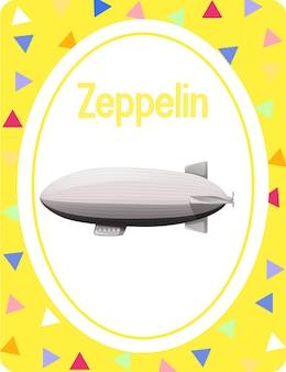 Woordenschatkaart met woord zeppelin