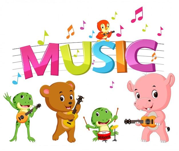 Woordmuziek met dieren die muziek spelen