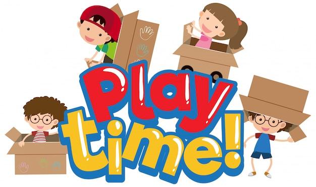 Woordspeeltijd met gelukkige kinderen spelen