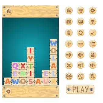 Woordspel puzzel en knop stijl hout.