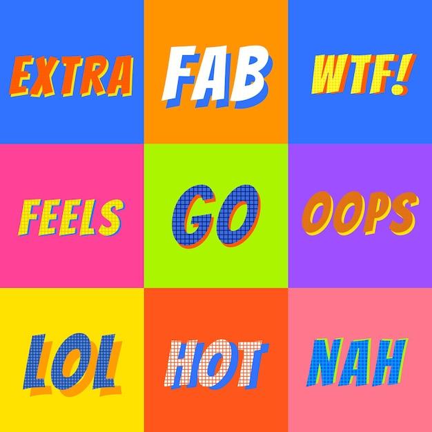 Woordverzameling funky kleurenvector