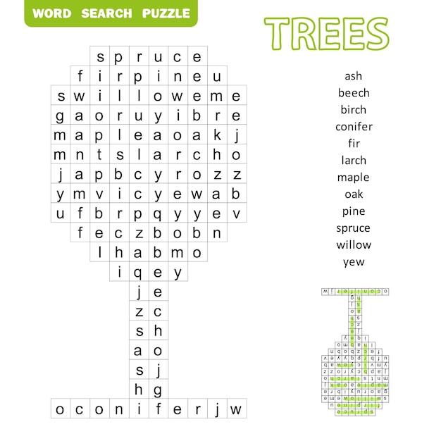 Woordzoekpuzzel met bomenthema. leuk onderwijsspel voor kinderen, voorschoolse werkbladactiviteit, vectorillustratie