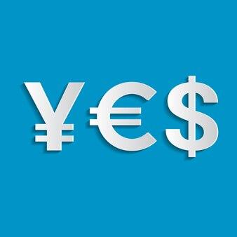 Word ja van valutasymbolen - yen, euro, dollar