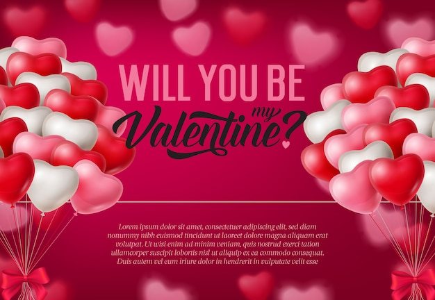 Word jij mijn valentijn-inscriptie, trossen ballonnen