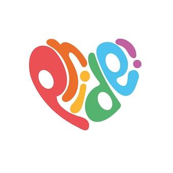 Word pride in hart icoon lgbtq gerelateerd symbool in regenboogkleuren gay pride rainbow community pride