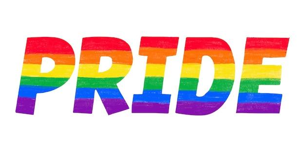 Word pride in regenboog lgbtq homo vlag kleuren belettering lgbt maand potlood krijt getextureerde geïsoleerd