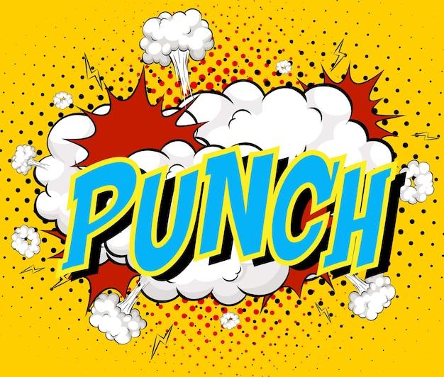 Word punch op komische wolkenexplosie
