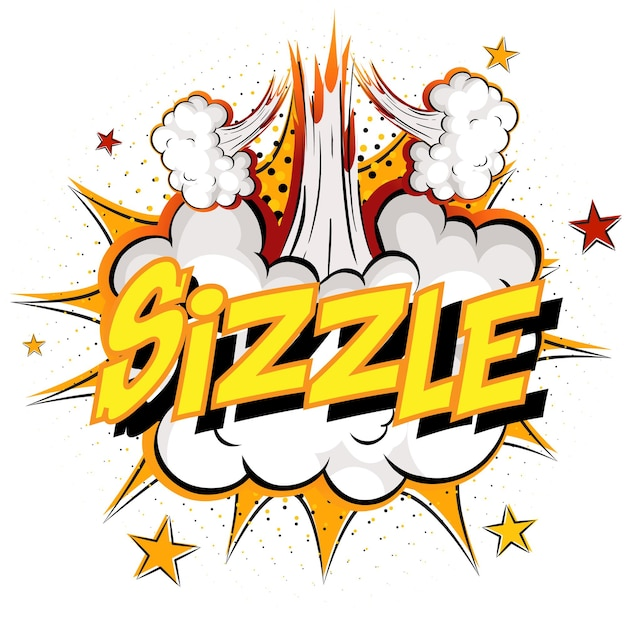 Word sizzle op komische wolk explosie achtergrond