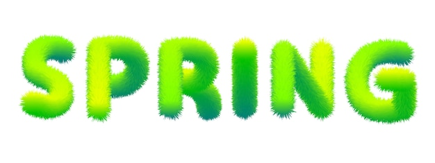 Word spring gemaakt van bont, pluizig. typografie, tekst, textuur, groene letters
