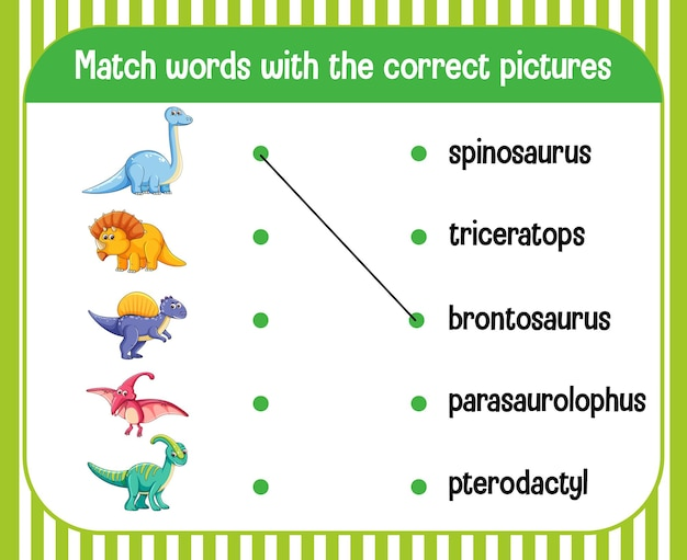 Word-to-picture matching werkblad dinosaurusthema