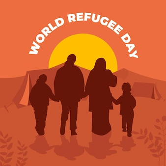 Word vluchtelingendag silhouetten concept