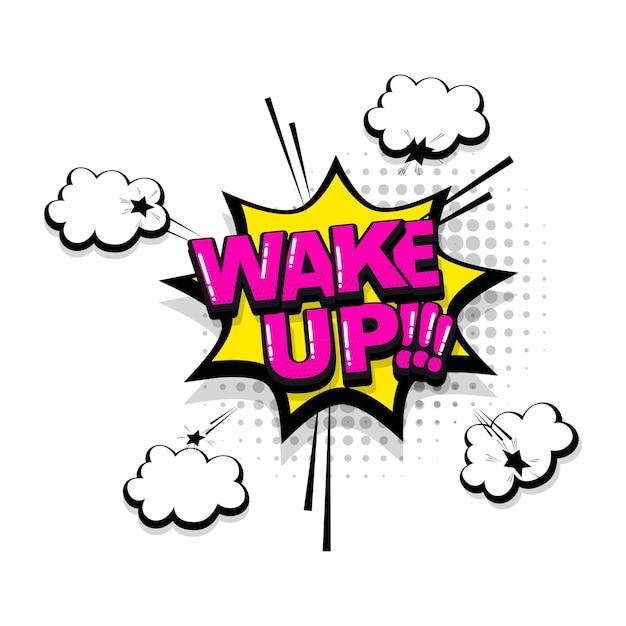 Word wakker komische tekst geluidseffecten pop-art stijl vector tekstballon woord cartoon