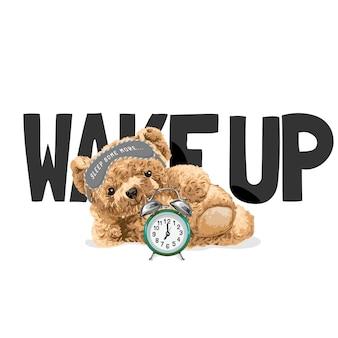 Word wakker slogan met beer pop liggend op de vloer met wekker vectorillustratie