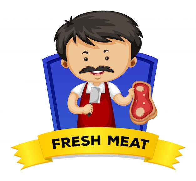 Wordcard met woord vers vlees