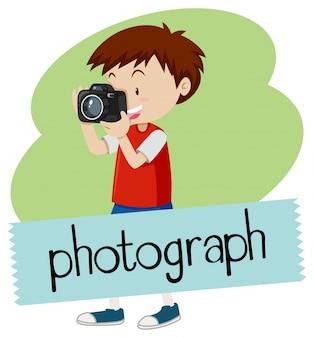 Wordcard voor foto met jongen die beeld met camera neemt
