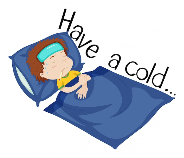 Wordcard voor verkouden worden met jongen die ziek in bed ligt