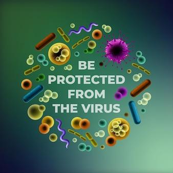 Worden beschermd tegen de virusillustratie met verschillende bacteriën ronde set