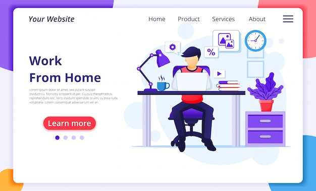 Work from home concept, a man sitting at desk and work on laptop, stay at home, quarantine during the coronavirus epidemic. website bestemmingspagina ontwerpsjabloon