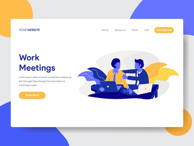 Work meetings-illustratie voor webpagina