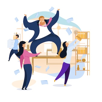 Work rush, office chaos, vlakke afbeelding