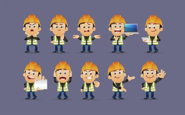 Worker set verschillende poses en gebaren