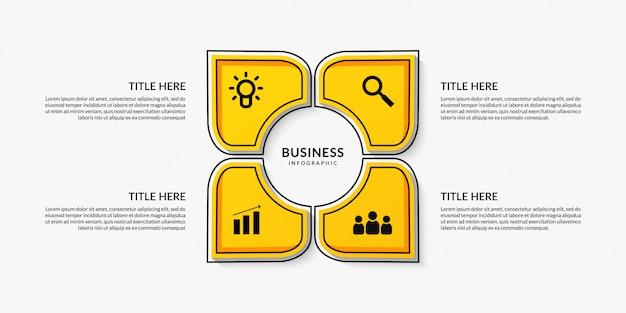 Workflow infographic met vier optionele, outline datacommunicatie voor bedrijfsrapport