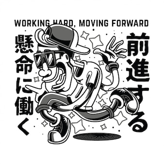 Working moving black and white illustration