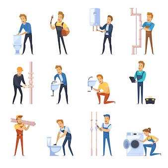 Working plumbers flat color icons set