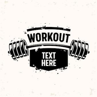 Workout banner met barbell, creatief bodybuilding en fitness motivatie concept.