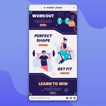 Workout e-mailsjabloon met illustraties