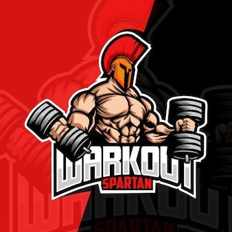 Workout spartaanse mascotte esport logo