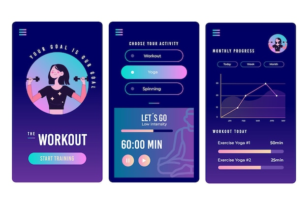 Workout tracker app-schermen