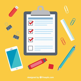 Workplace achtergrond met checklist en mobiele telefoon