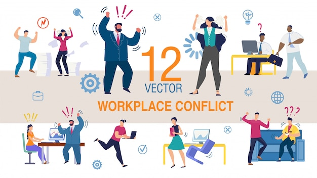 Workplace conflict flat concepten set