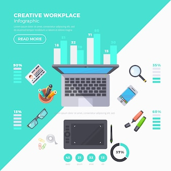 Workplace objects infographic set