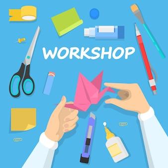Workshop concept. idee van onderwijs en creativiteit. creatieve vaardigheidsverbetering en kunstlessen. origami duif les. illustratie in cartoon-stijl