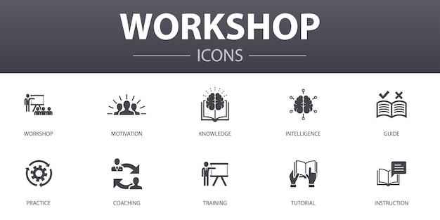 Workshop eenvoudig concept pictogrammen instellen. bevat iconen als motivatie, kennis, intelligentie, praktijk en meer, kan worden gebruikt voor web, logo, ui/ux