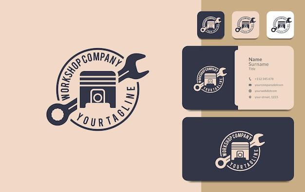 Workshop logo ontwerp auto reparatie moersleutel zuiger vintage stijl