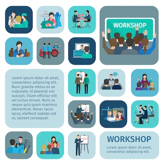 Workshop vlakke die pictogrammen met zakenlieden en arbeidersgroepswerksymbolen geïsoleerde vectorillustratie worden geplaatst