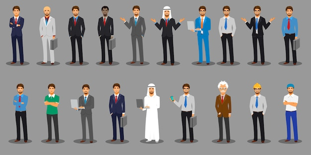 World business character poses