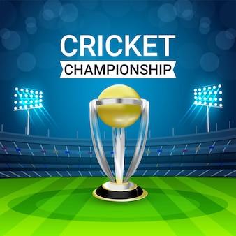 World cricket league-wedstrijd met cricket-elementen