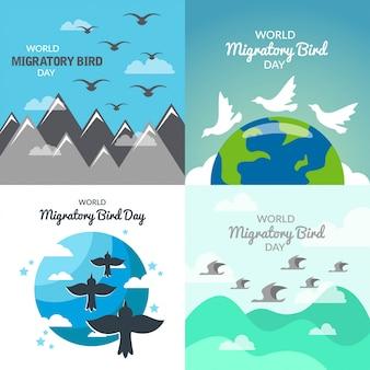 World migratory bird day illustration