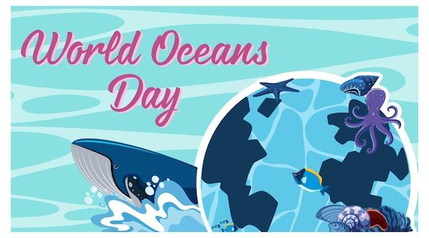 World ocean day banner met veel verschillende zeedieren