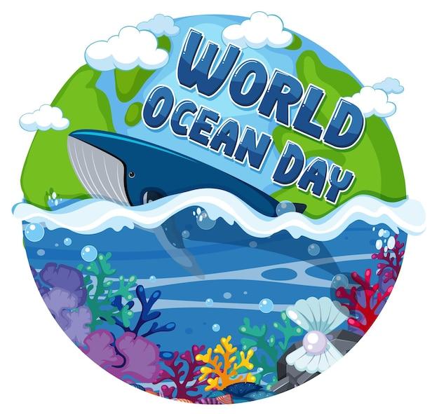 World ocean day banner met walvis in de oceaan geïsoleerd