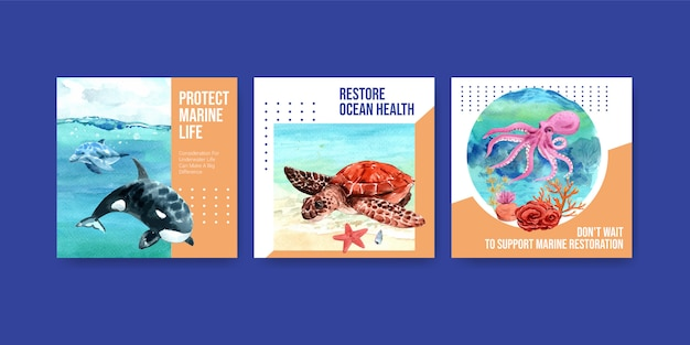 World oceans day environment protection concept reclamemalplaatje met schildpad, koraal, octopus en orka.